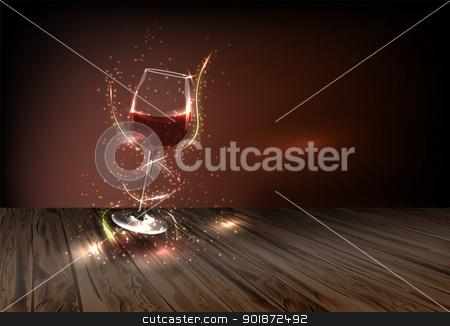 Wine for every occasion stock vector clipart, Glass of wine adorned with many small colored lights on a dark background by Alfio Roberto Silvestro