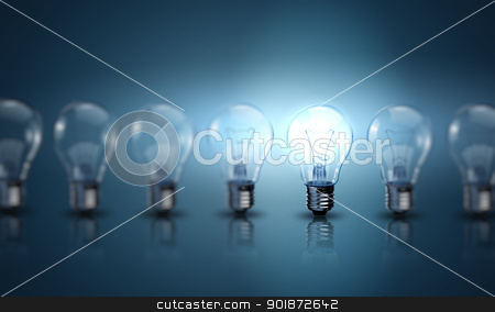 Bulb lamp stock photo, Light bulb lamps on a colour background  by Sergey Nivens