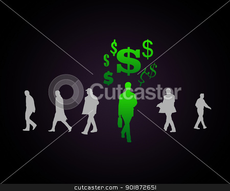 Human figure with currency symbol stock photo, Human figure with currency symbol on black background by Sergey Nivens