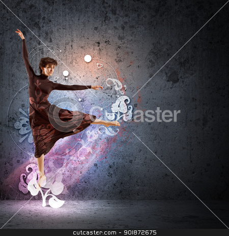 Girl in color dress dancing.Collage stock photo, Girl dancing in a color dress with a gray background. Collage by Sergey Nivens