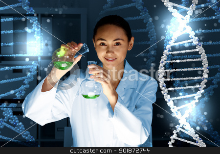 DNA strand illustration stock photo, Image of DNA strand against colour background by Sergey Nivens