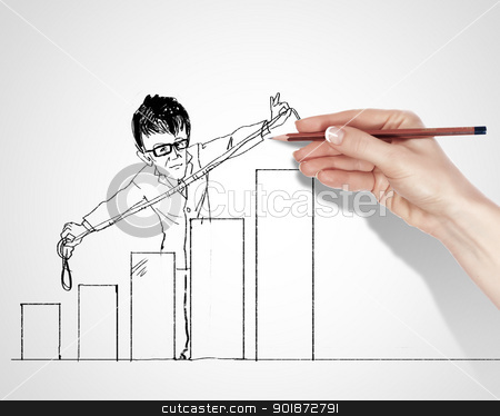 Drawing about success in business stock photo, Black and white pencil drawing about success in business by Sergey Nivens