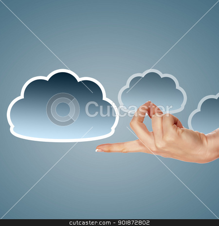 Hand with cloud computing symbol  stock photo, Hand with cloud computing symbol against colour background by Sergey Nivens