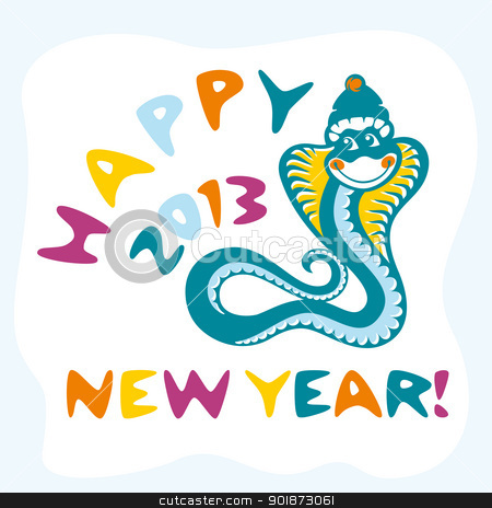 snake vector card stock vector clipart, abstract new year card with funny snake vector illustration by SelenaMay
