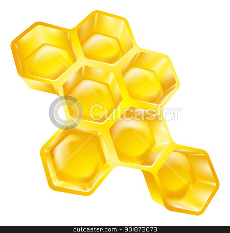 Honeycomb stock vector clipart, Illustration of bees wax honeycomb full of delicious honey by Christos Georghiou