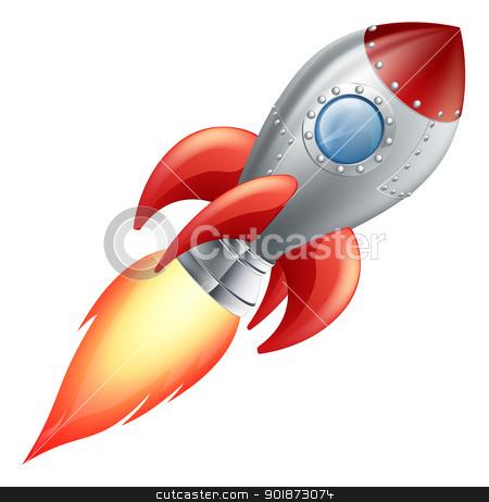 Cartoon rocket space ship stock vector clipart, Illustration of a cute cartoon rocket space ship by Christos Georghiou