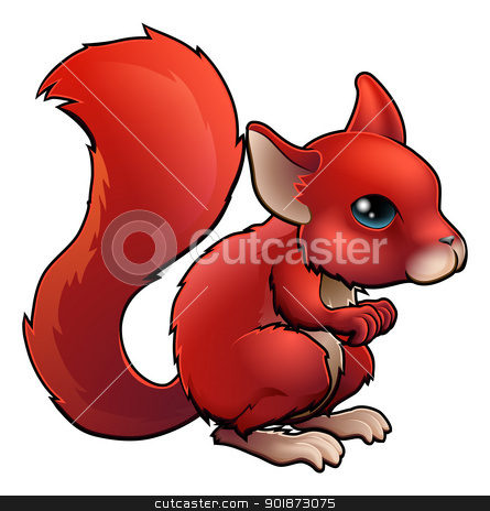 Red Cartoon Squirrel stock vector clipart, Illustration of a cute happy cartoon red Squirrel by Christos Georghiou
