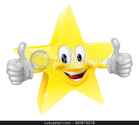 Star mascot stock vector clipart, A happy cartoon star man giving a double thumbs up by Christos Georghiou