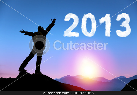 happy new year 2013. young man standing on the top of mountain watching the sunrise and cloud 2013 stock photo, happy new year 2013. young man standing on the top of mountain watching the sunrise and cloud 2013 by tomwang
