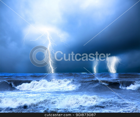 Storm and thunder on the sea stock photo, Storm and thunder on the sea by tomwang