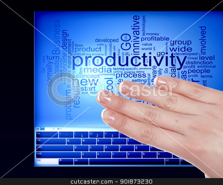 Finger touching a blue computer screen stock photo, Finger touching a blue computer screen with word on it by Sergey Nivens