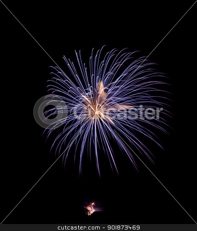 Blue Gold Fireworks stock photo, Blue Golden Fireworks againt a balck sky by 35millimetre