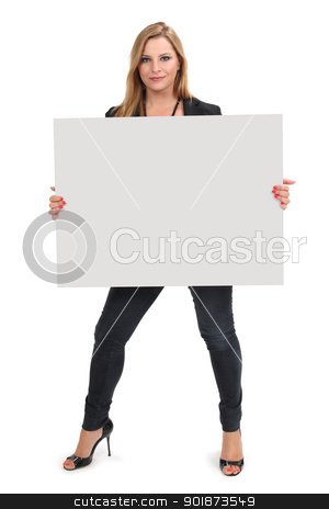 Blond female holding large blank sign stock photo, Photo of a beautiful blond female holding a blank sign - ready for your advertisement or message. Clipping path for sign included. by © Ron Sumners