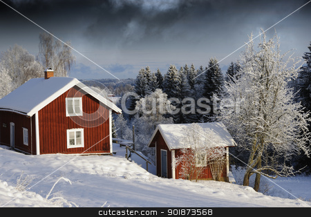 red cottage, snow and winter stock photo, old red cottage, snow, winter and ice, winter scenery from sweden by lagereek