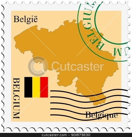 stamp with map and flag of Belgium stock vector clipart, Image of stamp with map and flag of Belgium by Oleksandr Kovalenko
