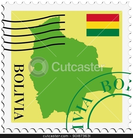 stamp with map and flag of Bolivia stock vector clipart, Image of stamp with map and flag of Bolivia by Oleksandr Kovalenko