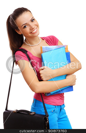 Happy student with books stock photo, Happy smiling student standing and holding books by Sergey Nivens