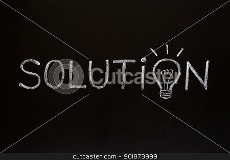 Solution concept on blackboard stock photo, Solution concept with chalk drawn light bulb on the place of the letter O on blackboard. by Ivelin Radkov