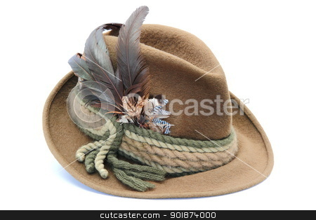 traditional decorated hunting hat stock photo, german hunting hat decorated with pheasant and jay feathers by coroiu octavian