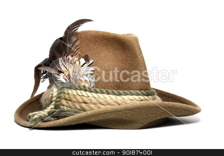 vintage hunting hat stock photo, vintage woolen hunting hat decorated with feathers over white background by coroiu octavian