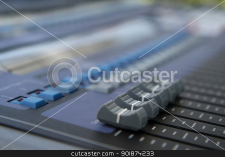 gray and blue audio sound mixer stock photo, Close up of gray and blue audio sound mixer with buttons  by kongsky