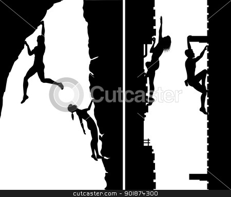 Free climbers stock vector clipart, Set of editable vector silhouettes of free climbers not using safety ropes, with climbers as separate objects by Robert Adrian Hillman