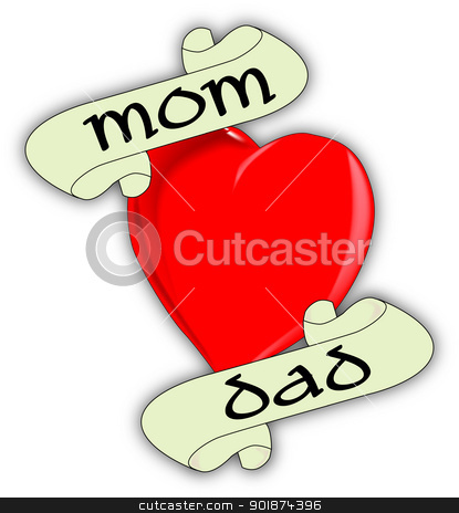 Mom and Dad stock vector clipart, A tattoo style image of the 'Love Mom and Dad' logo. by Kotto