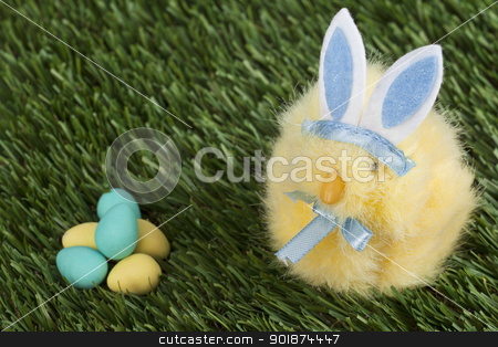 blue bunny staring at the easter eggs stock photo, blue bunny staring at the easter eggs by Rusu Grigore