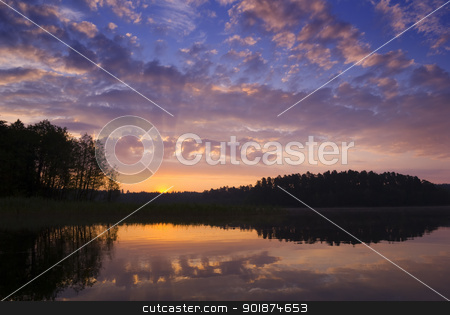 Sunrise. stock photo, Colorful sunrise over the lake, aRGB. by Piotr Skubisz