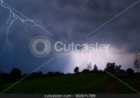 Night thunderstorm. stock photo, Thunderstorm in Poland - lightnings in the night. by Piotr Skubisz