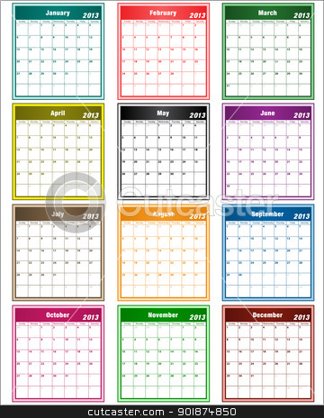 Calendar 2013 assorted colors stock vector clipart, Calendar 2013 in assorted colors with large date boxes. Each month a different color. by toots77