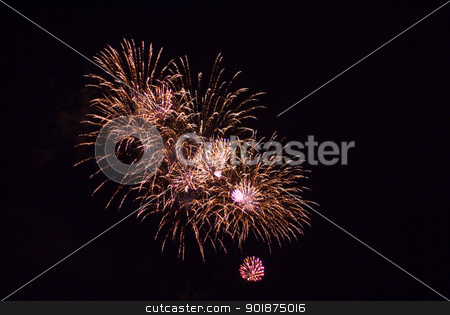 Firework bursting. stock photo, Colourful firework show. by Piotr Skubisz