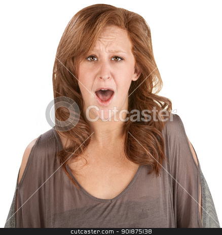 Horrified Woman Over White stock photo, Shocked isolated woman with mouth wide open by Scott Griessel