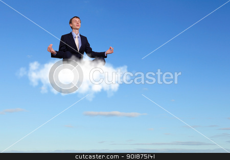 Businessman meditating sitting on the cloud stock photo, Businessman meditating sitting on the white cloud by Sergey Nivens