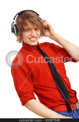 Happy smiling young man dancing stock photo, Happy smiling young man dancing and listening to music by Sergey Nivens