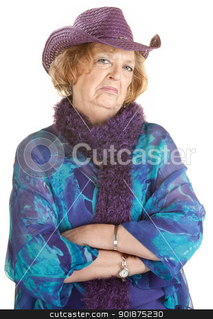 Grumpy Old Lady stock photo, Frowning old lady with folded arms over white by Scott Griessel