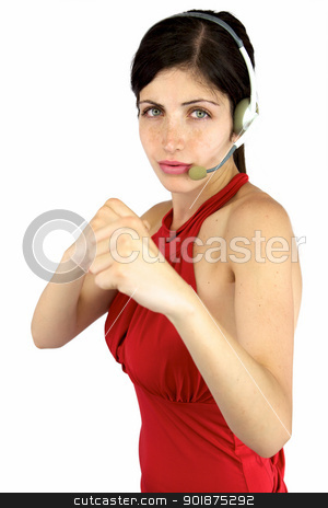 Beautiful call center girl ready to fight stock photo, Sexy call center girl with fist up ready to punch and fight by federico marsicano