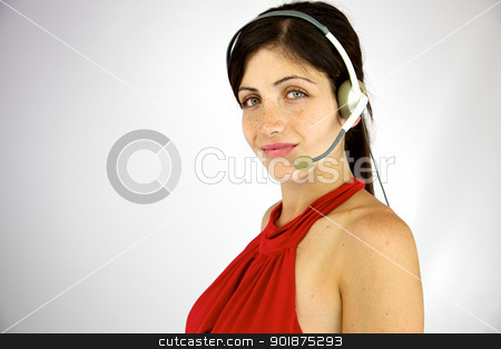 beautiful call center girl smiling happy stock photo, Good looking young woman working with headset by federico marsicano