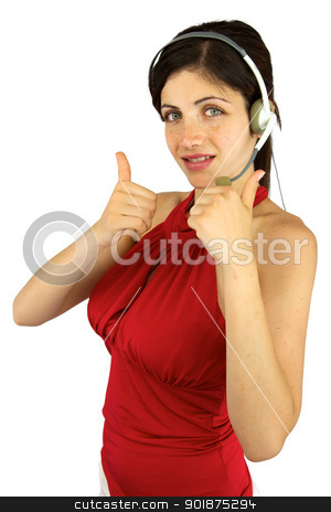 Beautiful call center girl with thumbs up stock photo, Good looking woman with freckles and green eyes with headset and thumbs up by federico marsicano