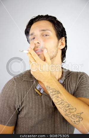Handsome man smoking cigarette stock photo, Cool man smoking cigarette enjoying happy by federico marsicano