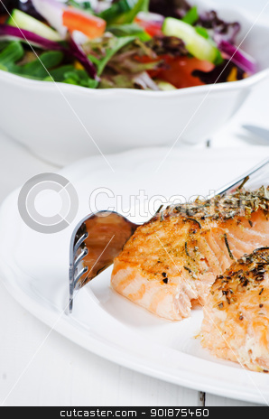 Grilled salmon steaks stock photo, Grilled salmon steaks with salad background by Nanisimova