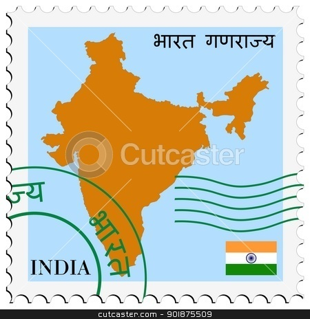 stamp with map and flag of India stock vector clipart, Image of stamp with map and flag of India by Oleksandr Kovalenko