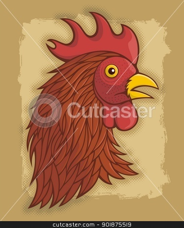 Red rooster's head stock vector clipart, Red rooster's head illustration on beige grunge background. by fractal.gr
