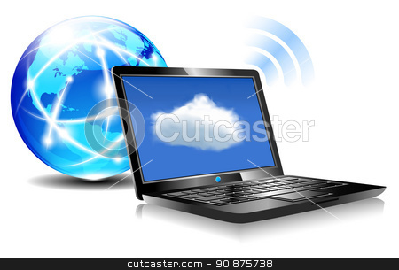 Laptop Cloud Connection stock vector clipart, Client computers communicating with resources located in the cloud by Fenton