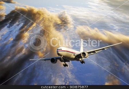 airliner flying through a dramatic sunset stock photo, airplane flying through dramatic clouds, sunset, ocean visible through clouds by lagereek
