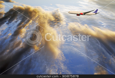 airplane flying through dramatic cloudscape stock photo, airplane, airliner, flying through dramatic clouds, ocean visible through cloudscape by lagereek