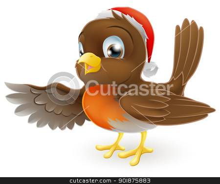 Christmas Robin bird pointing stock vector clipart, Cartoon Christmas Robin bird mascot in a Christmas hat pointing with its wing by Christos Georghiou
