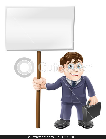 Cartoon business man and sign stock vector clipart, A happy cartoon business man holding briefcase and a sign board by Christos Georghiou