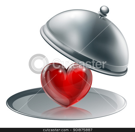 Heart on a silver platter  stock vector clipart, Illustration of a heart on a silver platter . Concept for giving love or of love of cooking perhaps  by Christos Georghiou