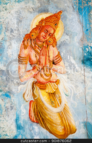 Buddhism angel  - deva stock photo, Traditional Sri Lanka style art with the buddhism angel - deva image by Iryna Rasko